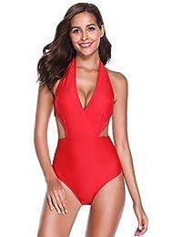 SHEKINI Damen Moderner Badeanzug Neckholder V-Ausschnitt Monokini High  Waist Rückenfrei Sexy Bauchweg Cutouts Strandbikini 3e5262dfd8