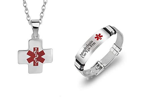 LiFashion 2 Pack Durable Customized Einstellbare Chirurgenstahl Medical Alert Armband für Frauen Männer Cross Medic Alarm Identifikation Halskette Schmuck Set
