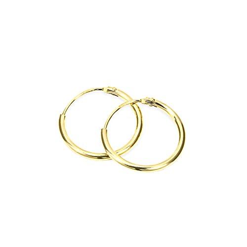 NKlaus PAAR 585 echt GOLD HERREN Creolen Ohrring Ohrschmuck Ohrhänger 13 mm 1751