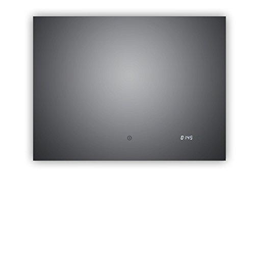 Top Noël d'action. Miroir Salle de Bain Lumineux avec horloge numérique intégrée, Arzberg 80 x 60 cm, Salle de Bain Miroir Paysage avec rétroéclairage, classe énergétique A +