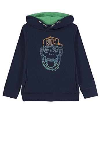 TOM TAILOR Kids Jungen Kapuzenpullover Sweatshirt Placed Print Blau (Dress Blue 3043) 104 -