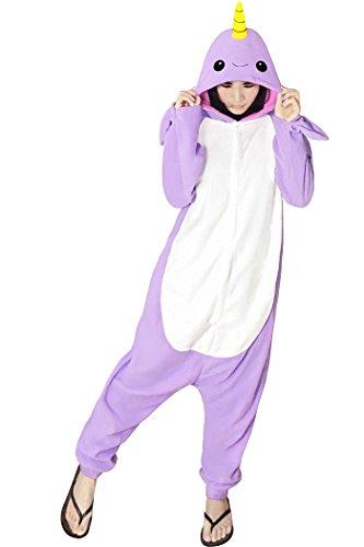 """dressfan Unisex Animales Cosplay Disfraz Narwhal PYJAMAS adultos niños morado S(Für höhe:59""""-63"""")"""