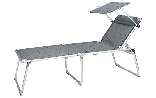 Berger Aluminium Sonnenliege XL mit Dach 5-Fach verstellbar L 200 x B 69 x H 49 cm, Campingliege