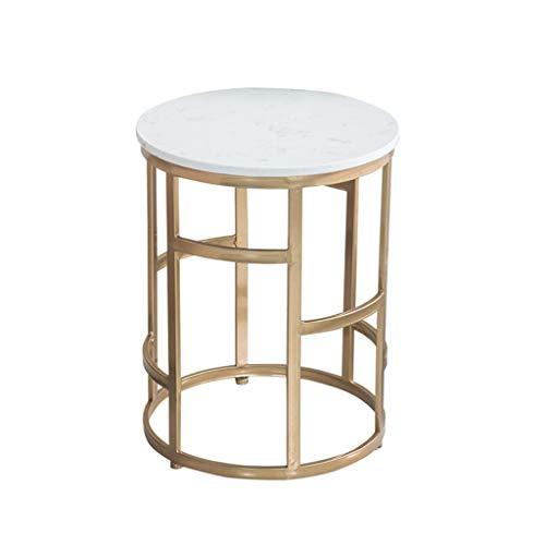 Beistelltisch Beistelltisch Runde Marmor Arbeitsplatte Metallhalterung Gold Farbe Geeignet for Clubhaus Wohnzimmer Schlafzimmer Kleine Couchtisch Display Stand Freizeit Tisch Weiß ( Color : White )