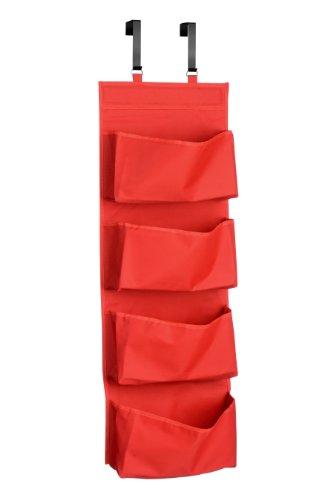 Premier Housewares 1901119 Hängeorganizer für Tür, Polyester, 4 Fächer, Rot