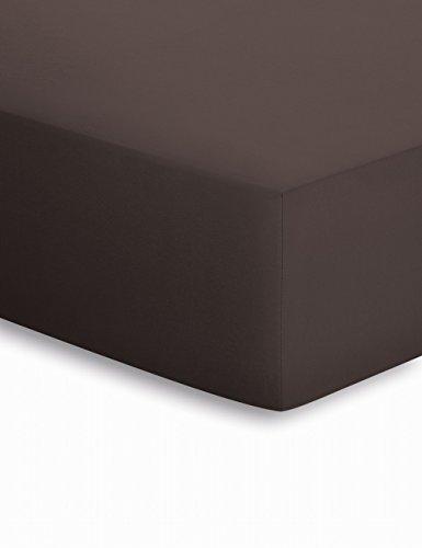 schlafgut Lenzuolo con angoli in Jersey per letto ad acqua e Box Spring letti, 50151, Cotone, Chocolate, 180 x 200 cm