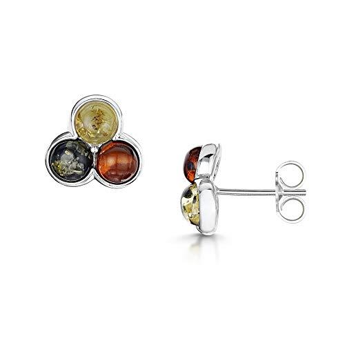 Amberta  -  925 Sterlingsilber  Sterling-Silber 925 Rund   Mehrfarbig Bernstein