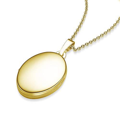 Medaillon oval Gold Amulett (Medalion, Medallion) Goldmedaillon zum Öffnen, aufklappen, aufklappbar mit Kette für Foto Fotokette Gold Kette hochwertig vergoldet! + inkl. Luxusetui + Kette FF04 VGGG45
