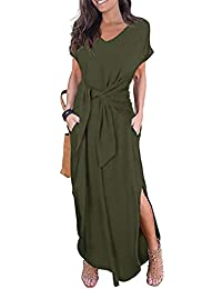 781269a22a4a5 Asvivid Womens Casual Loose Dress Short Sleeve Round Neck Wrap Lace-up  Split Maxi Dresses