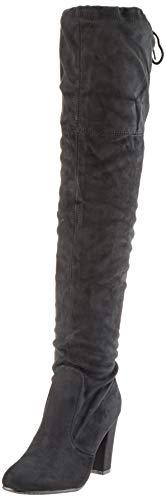 Damen Stiefel Schleifen Overknees Veloursleder-Optik Langschaftstiefel Boots Schuhe 130732 Schwarz Black 39 - Damen Sexy Kostüm Stiefel