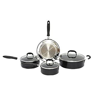 Gourmet Chef Induction Ready 7-Piece Non-Stick Cookware Set, Black by Gourmet Chef