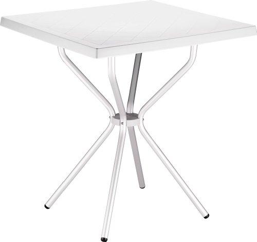 CLP Garten Bistro-Tisch SORTHIE, quadratisch 70 x 70 cm, Esstisch Höhe 72 cm, Kunststoff/Aluminium, wetterfest, 4 Personen, ideal für den Balkon & Camping Weiß