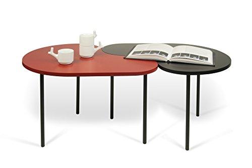 TemaHome Loop Set de Tables gigognes de Salon, Bois, Noir/Rouge, 69 x 55 x 45 cm