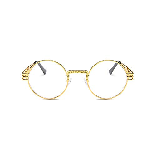 LKSDD Metallrunde Rahmen-Sonnenbrille-Punkwind-Sonnenbrille-Männer und Frauen-Persönlichkeits-Gläser buntes wildes,8