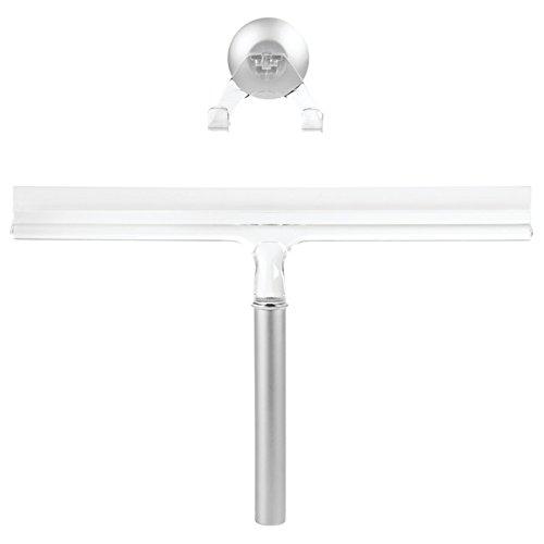 mDesign Duschabzieher - optimal für die Duschkabine oder als Fensterabzieher - mit Saugnapf für Wandhalterung - robuster Abzieher – Aluminium