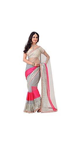 Designer Party Saree Net Grey and hot pink Two toned patch fabric...