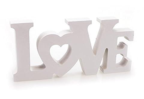 Deko Holzaufsteller Schriftzug Love englisch Liebe 18x8 cm aus Holz weiß, Landhaus Deko Aufsteller Dekoschild modern mit Herz