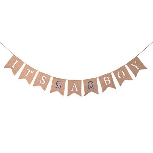 istary Girlande Leinen Material Sackleinen Banner für Mädchen Jungen Geburtstagsparty