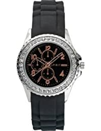 Spirit Women's Quartz Watch with Black Dial Analogue Display and Black Rubber Strap ASPL63