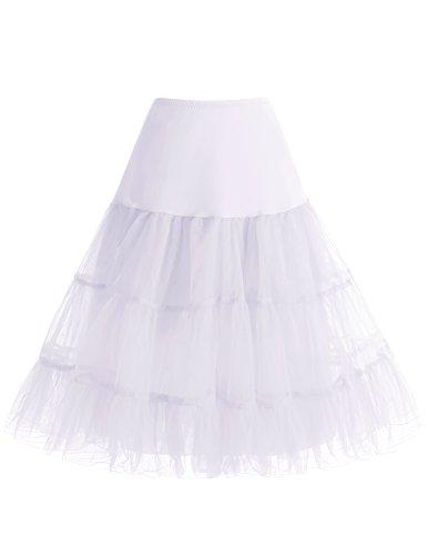 bbonlinedress Organza 50s Vintage Rockabilly Petticoat Underskirt White S