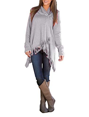 Hippolo Damen Knopf Langarm Cardigan Tops Dünne Quasten Asymmetrisch Sweatshirt Pullover Strickjacken (L, Grau) -