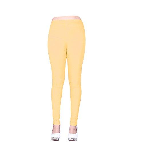 Vatsla Women\'s Large Pure Cotton Leggings(LLeggings019_LIGHT CREAM_COLOUR)