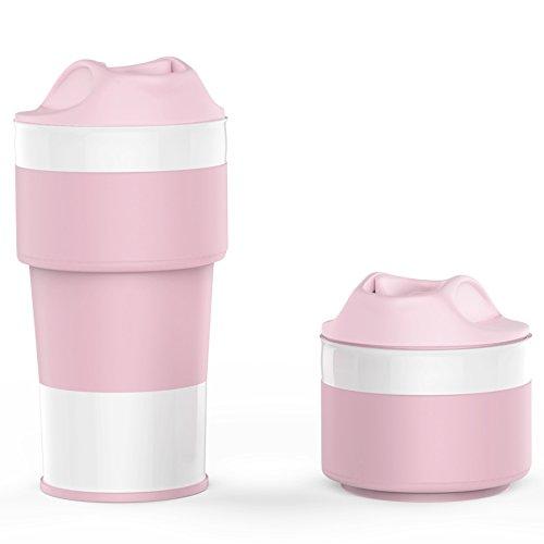 Jerrybox Faltbarer Kaffeebecher to go, Zusammenlegbare Kafeetasse aus Silikon 0,4l, Coffee to go Becher, Platzsparend und Umweltfreundlich, Tragbarer und Praktischer Reisebecher für unterwegs, Camping, Radfahren (400 ml, Pink)