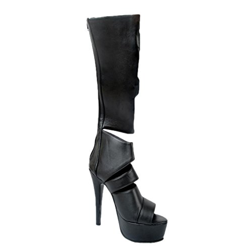 Kolnoo Femmes Chaussures Stiletto Gladiator Sandals Zipper Cross Stripe Peep Toe Knee High Heel Thin Platform Bottes Party Black