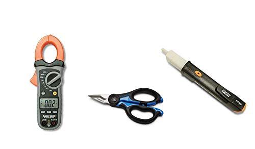 HT Kit Promo HT 4010 Pinza Amperometrica Tester Digitale Led per misure di corrente fino a 600A + HT20 Strumento Cercafase Elettronico + Forbice per elettricista Cembre SC5X Robust-a in acciaio
