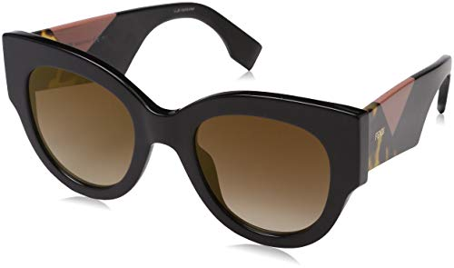 Fendi ff 0264/s jl 807 51, occhiali da sole donna, nero (black/bw brown)