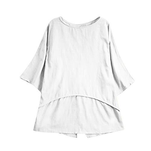 CAOQAO Rundhals Falten T-Shirt Sweatshirt Womens Casual Plus Size Lose LeinenhüLse Solide Tanic Shirt Bluse