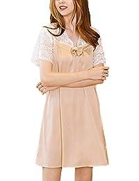 d8a05fb90e1 Pyjama Femme Eté Manches Courtes Essentiel Dentelle avec V Cou Court  Vêtement De Nuit Élégant Vintage