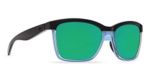 Costa Del Mar New anaa 97glänzend schwarz/kristall/hellblau Sonnenbrille für Damen, Grün, ANA97OGMP