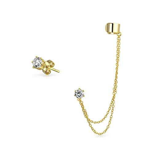 Band Knorpel Ohrläppchen Doppelte Kette Ohrstulpe Ohrringe Schlingen CZ Stud Ohrring Set 14K Vergoldet Sterling Silber