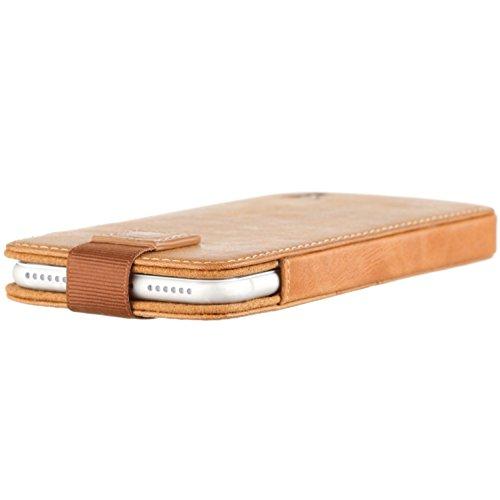 Pochette iPhone 7 de TORRO en Cuir Véritable. Coque Housse Etui brun / marron foncé, très mince avec les compartiments pour cartes, en cuir de qualité supérieure, (brun foncé en cuir de vache véritabl Marron 'Tan'