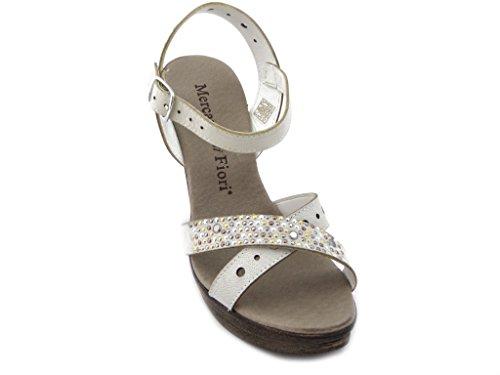 MERCANTE DI FIORI Leder-Sandalen mit Absatz 11 cm. und Plateau 2 cm., gepolstertes Fußbett und Gummisohle , Sommer-1685B Eis