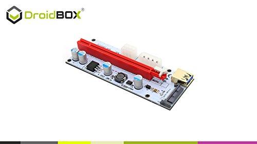 6-Pack PCIe VER 006C 16x bis 1x Powered Riser Adapterkarte mit 60cm USB 3.0 Verlängerungskabel & 6-Pin PCI-E zum SATA Netzkabel – GPU Riser Adapter – Ethereum Mining ETH - 6