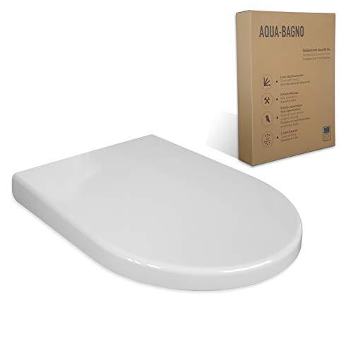 Aqua Bagno WC asiento ZERO blanco D-FORM universal - plástico termoendurecible de...