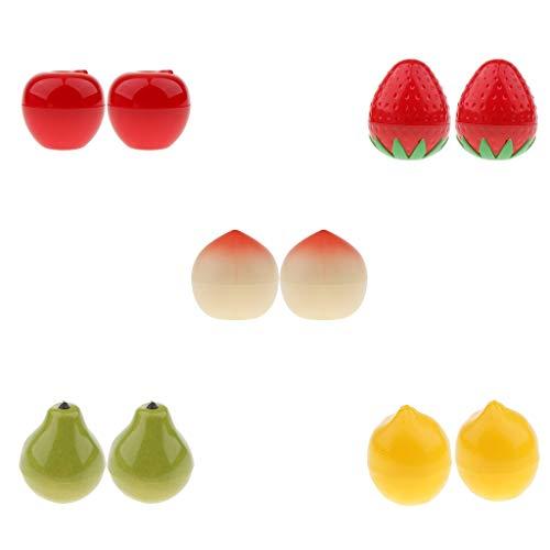 Homyl 10pcs Pot Vide en Plastique Forme Fruits Récipient Cosmétique avec Couvercle pour Échantillon de Crèmes Stockage de Maquillage