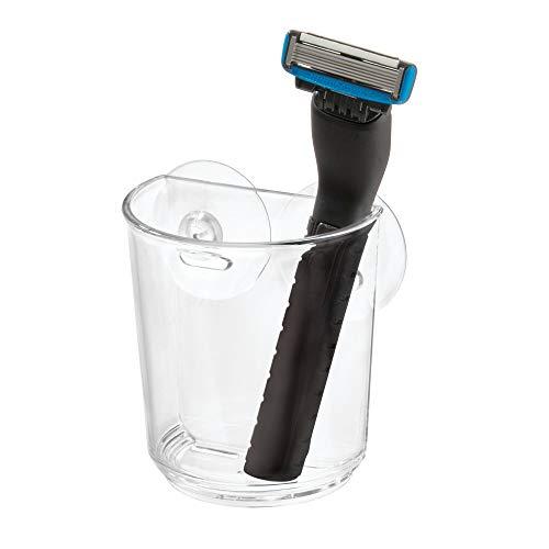 iDesign Basic Becher mit Saugnapf, Aufbewahrungsmöglichkeit aus Kunststoff für Zahnbürsten und andere Utensilien, durchsichtig