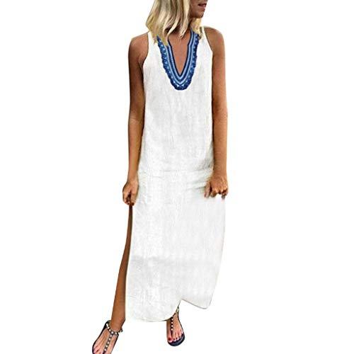 Frauen V-Ausschnitt Print Kleid Sommer ärmellos Split Saum langes Kleid sexy lose Mode lässig Strandrock Sonojie