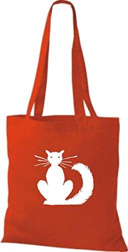 ShirtInStyle Stoffbeutel Katze Motive Rasse Katze Lustige Tiere Züchter Cat diverse Farbe bright red