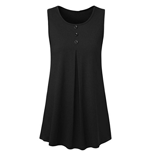 Kobay Women Tank Tops, Ladies' Sleeveless Tunic for Leggings Solid Button Camisole Tops Blouse Summer