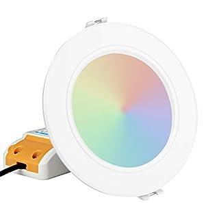 Zerodis Dalle LED Ronde Milight Downlight Dimmable Contrôle à Distance ou Contrôle avec Un Smartphone Via WiFi iBox Lampe LED Plafon 2.4G sans Fil 6W RGB + CCT Spots LED Encastré Lampe Intégrée