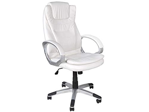 MALATEC Bürostuhl Chefsessel Profi Drehstuhl Kunstleder Weiß Schwarz Braun bis 130kg Belastbar 2731, Farbe:Weiß