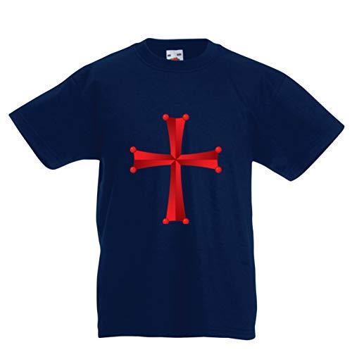 en/Mädchen T-Shirt Tempel des Ordens von Salomo - Das Rote Kreuz der Tempelritter (3-4 Years Dunkelblau Mehrfarben) ()