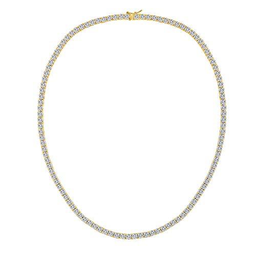 Tennis Kette Gold Herren 4mm Diamant Erstellt Tennis Halskette 45cm Schmuck Geschenke für Damen Frauen - Halskette Diamant-schmuck
