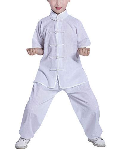 Mengmiao Kinder Unisex Kurze Ärmel Oberteile und Hosen Kampfsport Anzug Kung Fu 2-Teiliges Set Weiß 110