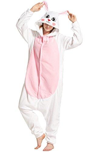 Männer Asian Für Halloween Kostüme (LANOMI Tier Pinguin Waschbär Kostüm Jumpsuits Pyjama Overall Karneval Kostüme Damen Herren (Hase Rosa, Asian XL/Körpergröße)