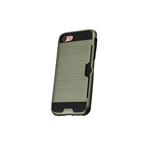 iPhone 7 Coque, Lantier [Card Slot Wallet Series] Housse de protection double couche Armure hybride robuste en plastique dur Shell flexible TPU Shock-Absorption pour iPhone 7 (4,7 pouces) Cyan Dark Green